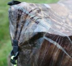 Cuben fibre repair tape 'stitch' across strained seams at apex of tent