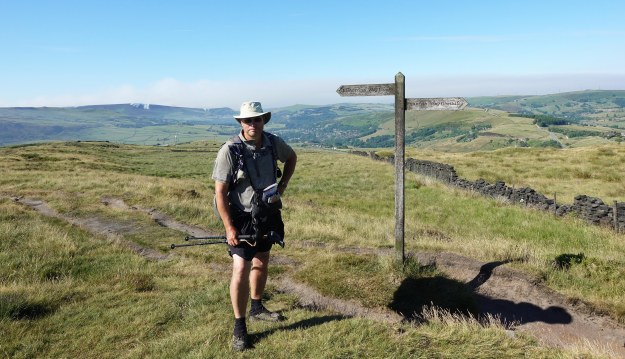 Three Points of the Compass on the Pennine Way, safely past the fire on Saddleworth moor, seen behind