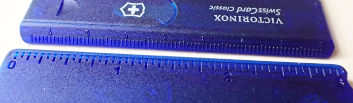 All SwissCards include a small ruler- 75mm on the front edge, 3 inches on the back