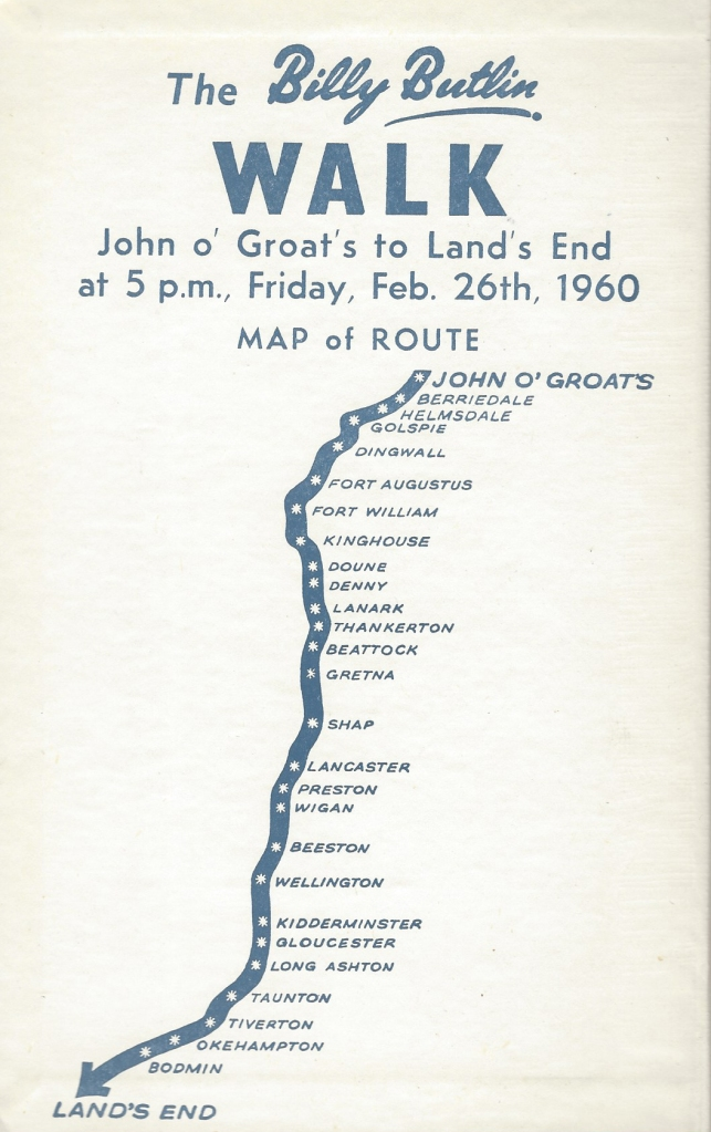 The route followed by competitors in the Billy Butlin Walk, from Land's End to John O'Groats in 1960