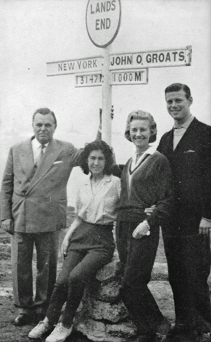 18 year old Wendy Lewis was the first female home on The Big Walk. She and the second female eacgh collected £1000 prize money from Sir Billy Butlin, shown here with his wife and son at Land's End