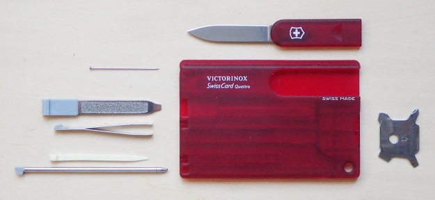 While the addition of the new four-way screwdriver was a welcome addition, the loss of scissors in the SwissCard Quattro means that there is considerable wasted space in the plastic holder of this version