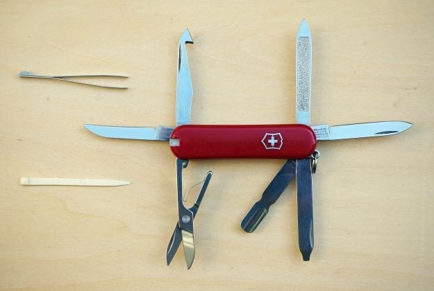 The first version of the Victorinox Minichamp crams an amazing number of tools in to a two layer knife