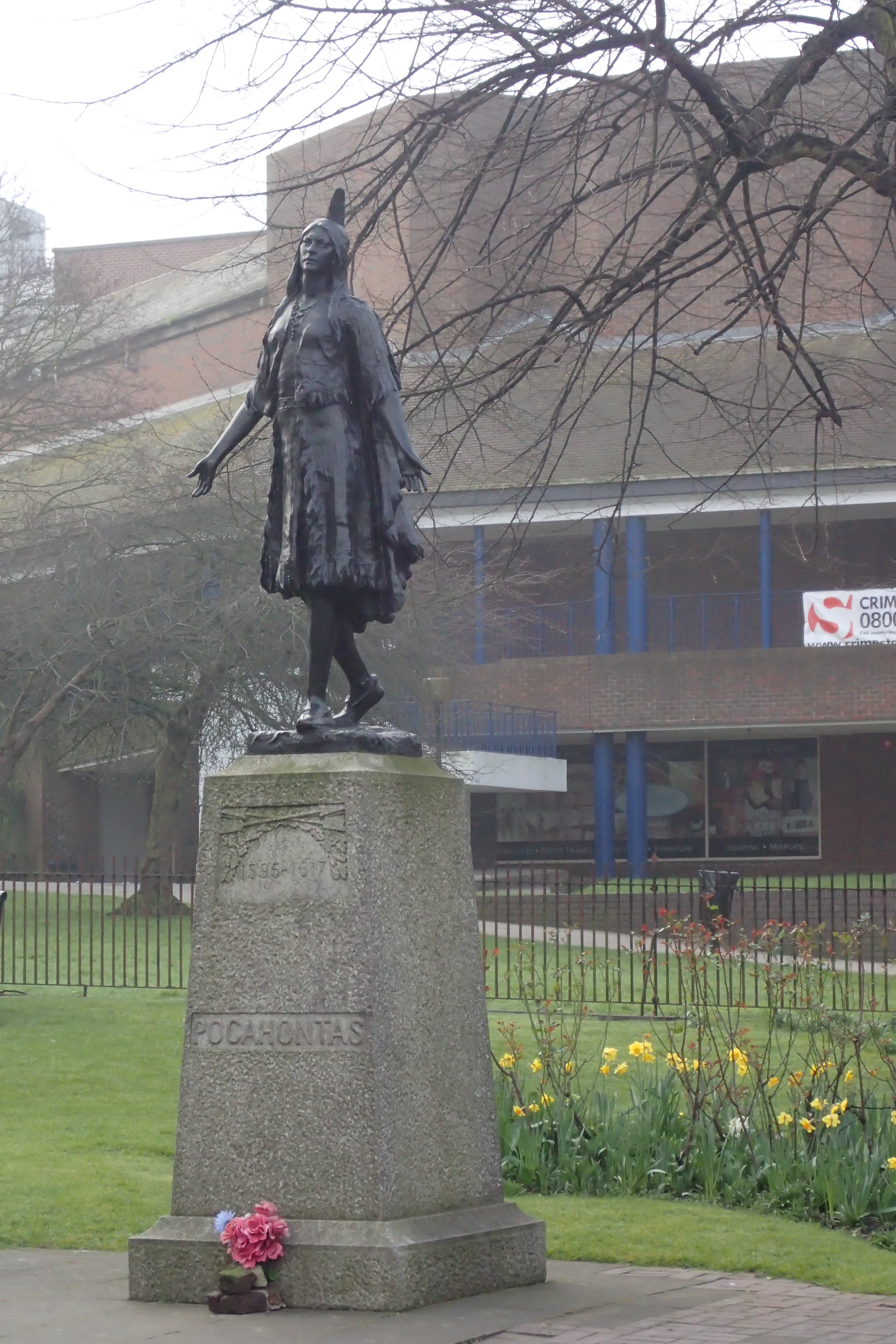 The statue of native American Pocahontas and her memorial are seen on the final day on trail at St. George's Church, Gravesend