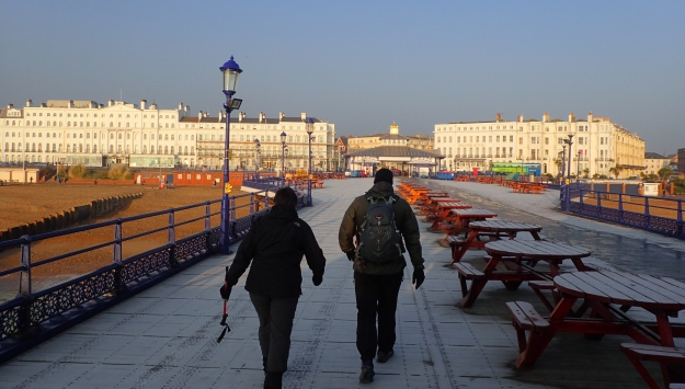 Mr and Mrs Three Points of the Compass set off on a cold winters morning from Eastbourne Pier for our first day on the Wealdway