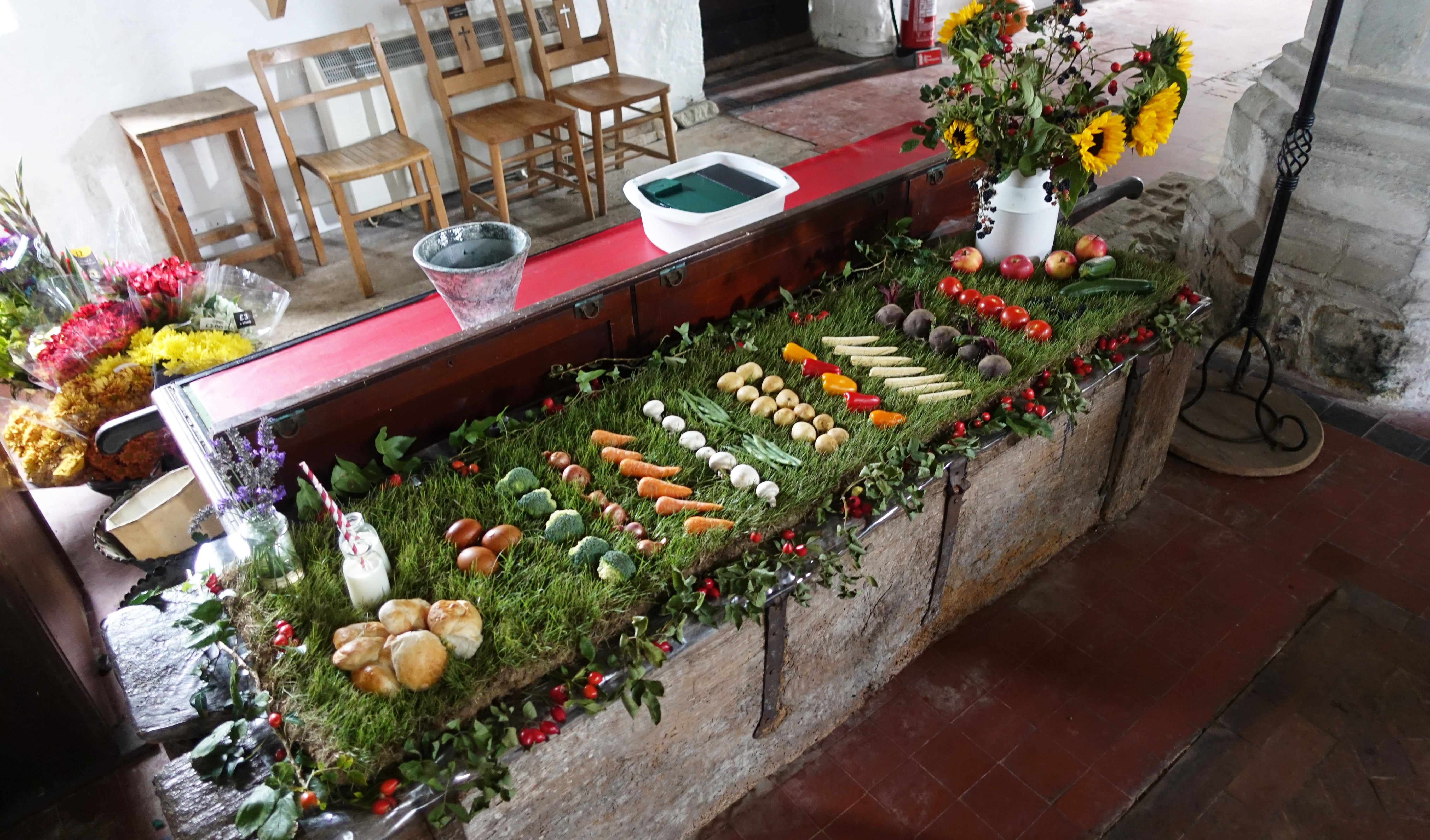 Part of the harvest festival display at St. Pancras Church, Arlington