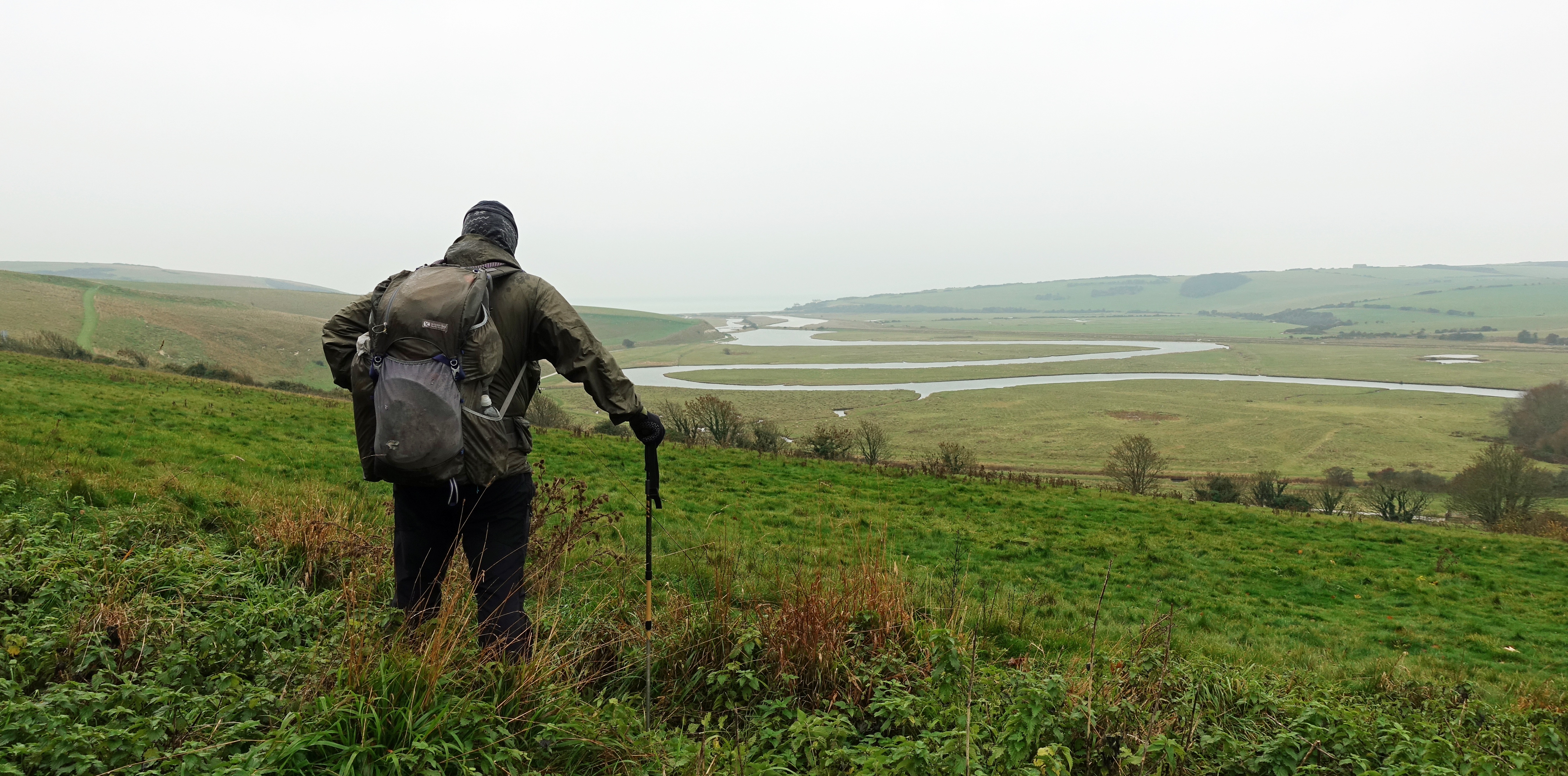 About to descend to the famous winding meanders of the Cuckmere River