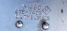 Crows foot, date of manufacture and part number were stamped on to the side of each knife issued
