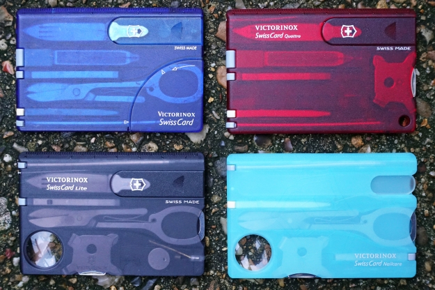 Four Victorinox SwissCards- each offers a slightly different range of tools