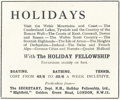 1927 advert of The Holiday Fellowship