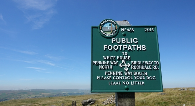 Signpost of The Peak & Northern Footpaths Society. Photographed on The Pennine Way, 2018