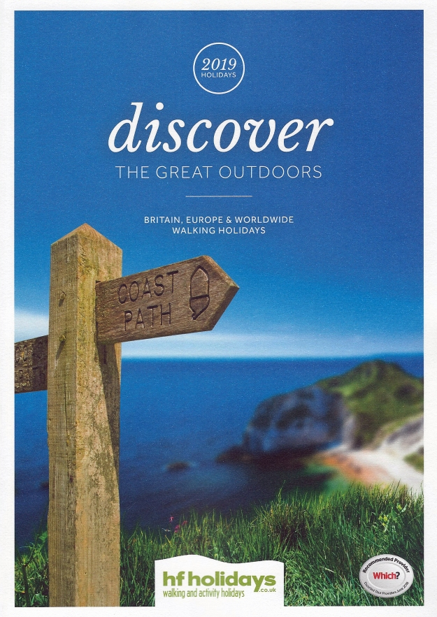2019 brochure from HF Holidays advertising walking and activity holidays
