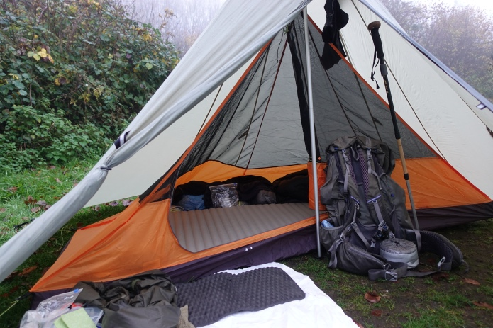 Camping in the grounds of the Sustainability Centre on the South Downs Way in November 2018