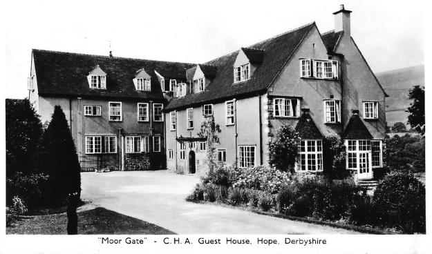 Postcard showing the Moor Gate guest house owned and operated by the Co-operative Holiday Association