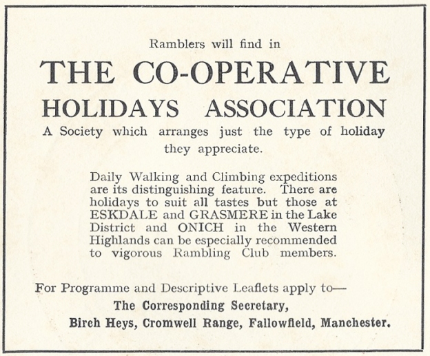 1927 advert for the Co-operative Holidays Association