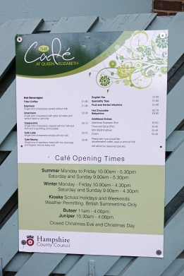 There is a cafe at the Queen Elizabeth Country Park however no water outside of opening times