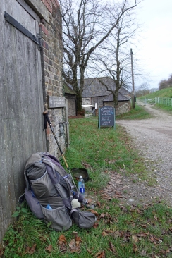 There is a small cafe, the Hikers Rest, at Saddlescombe Farm, but that was closed as I passed through. However the tap in the wall was still working