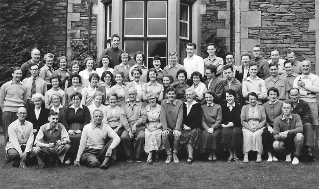 A group photograph of a happy bunch of people enjoying a weeks holiday with the Co-operative Holiday Association at Grasmere in 1958