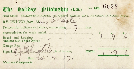 Miss Iris Hole paid £1, 9s, 6d for a weeks board and lodging at Derwent, in the English Lake District, in 1937