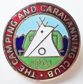 Enamel badge for The Camping and Caravanning Club, post 1983