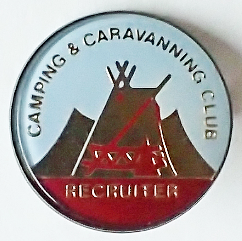 Acrylic badge for Camping & Caravanning Club Recruiter, post 1983