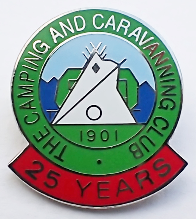 Enamel badge for members of The Camping and Caravanning Club, with 25 Years membership, post 1983