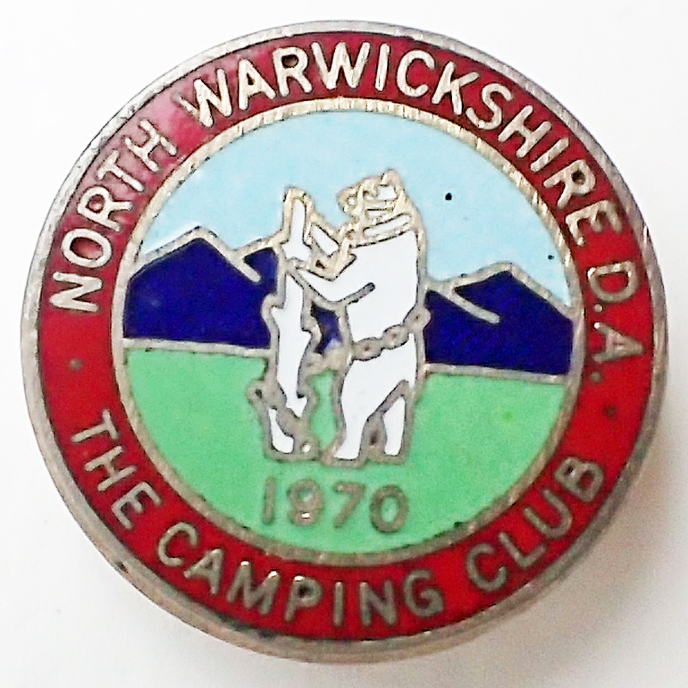 Enamel club badge of The Camping Club-North Warwickshire District Association,1970