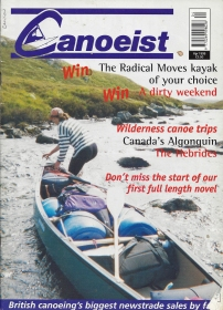 Canoeist. April 1999. Cover- wading a river in the Hebrides