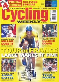 Cycling Weekly, August 2003. Cover- Lance Armstrong takes his fifth Tour de France victory