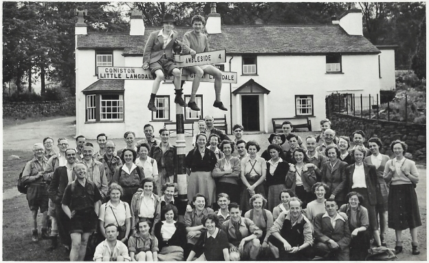 A happy bunch of hikers outside the Britannia Inn in Elterwater, Lake District