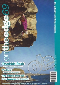 On the edge, July 1997. Cover- Dave Green on Free Stone Henge E7 6c Castell Helen, Gogarth
