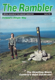 The Rambler, Spring 1991. Cover- Linda Hart on the Dingle Way, with Dunmore Head (the most westerly point in Europe)