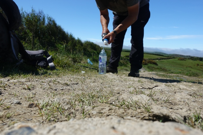 Filtering water on trail. My walk coincided with one of the hottest UK summers on record