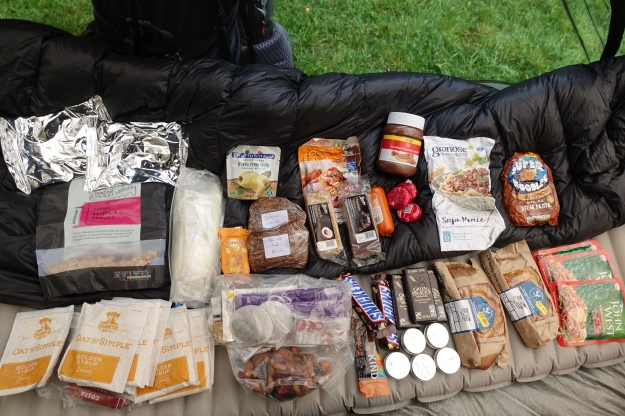 The contents of my food bag photographed midway through the 177 mile Offas Dyke in 2018. I see that I had managed to locate Kind bars somewhere and a solitary one remains as a treat