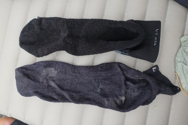 Despite being washed, or at least rinsed, on a daily basis. Socks wore out. I carried tow pairs for walking and alternated them. Both pairs were replaced during the walk.