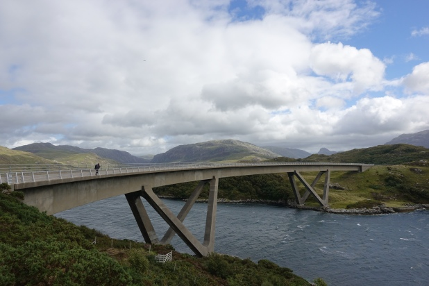 The curved Kylesku bridge was crossed in Sutherland. Wind was extraordinary and resulted in one particular unexpected gear failure