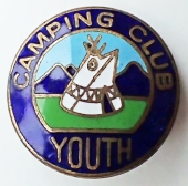 Enamel badge for the camping club youth section. This is aimed at young people between the ages of 12-17