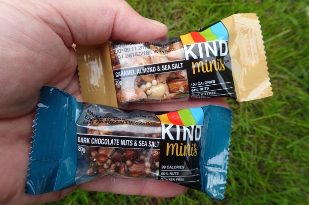 If you can find them, the 20g Kind Minis each provide around a 100 calories