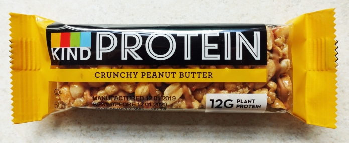 Kind Protein bar. 50g bar containing 59% peanuts provides 12g of protein and 252kcal