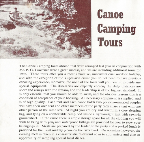 1962 advert for canoe camping holiday in the former country of Yugoslavia