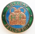 Enamelled pin badge. The rucksack emphasises the organisation's walking ethos