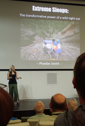 "Writer, journalist and 'wild sleeper' Phoebe Smith delivered an amusing and joyful presentation. On her first ever solo wil camp she ""ran into the one thing that strikes the fear of god into us... a youth group!"""