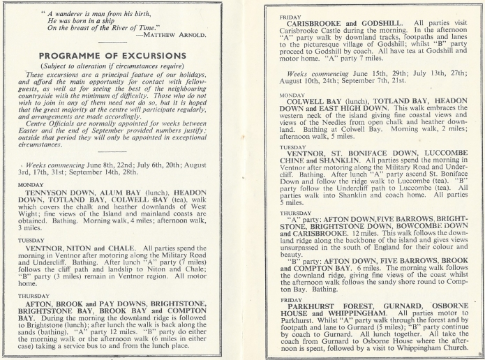 Programme of walking excursions at the Freshwater Bay centre on the Isle of Wight in 1957