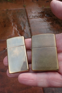 Solid brass slim Zippo and the full size well tarnished version that Three Points of the Compass inherited from his father