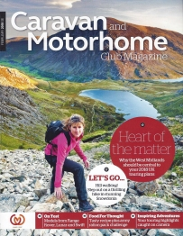 Caravan and Motorhome Club Magazine, February 2018.Cover- hill-walking in Snowdonia