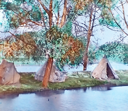 Camping by boat on the River Thames, possibly Eel Pie Island. c1900. Lantern slide