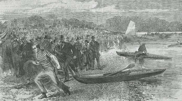 The Canoe Club held a grand muster at Thames Ditton, between Hampden Court and Kingston, in May 1867. Robert MacGregor with his 'Rob Roy' canoe led the procession of canoes to the start of the race course