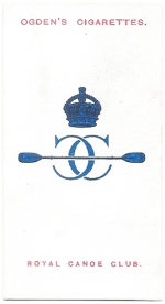 Club badge of the Royal Canoe Club. No 36 in series of 50 club badges, Ogden's Cigarettes, 1915