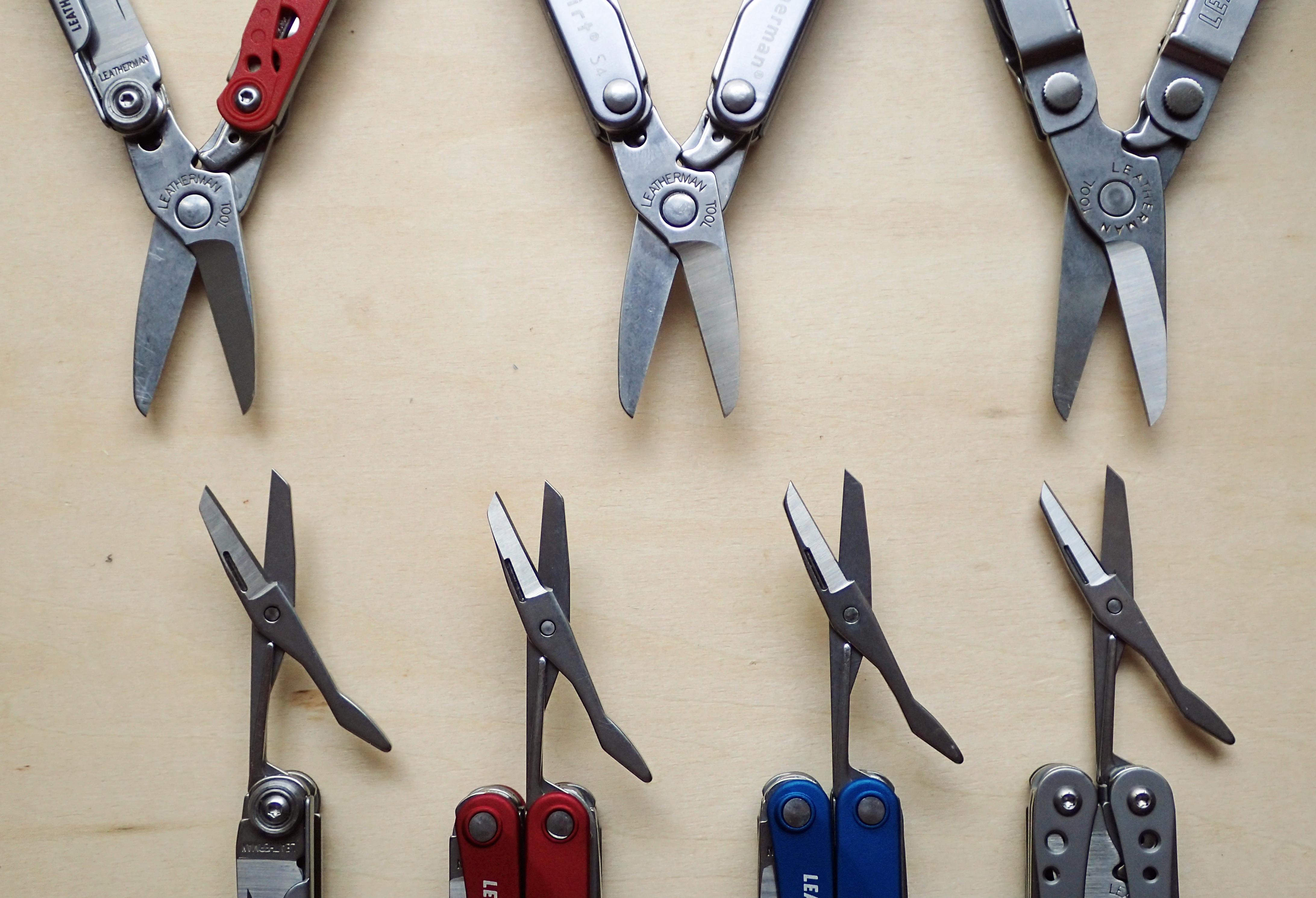 Leatherman scissors compared. Top row: Leatherman Style CS, Squirt S4, Micra. Bottom row: Leatherman Style, Squirt ES4, Squirt PS4, Style PS