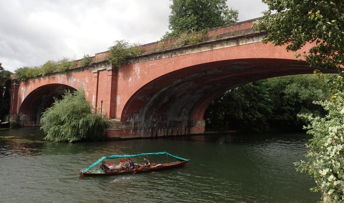 Traditional camping skiff sen on the River Thames whilst walking the London Countryway, Windsor to Marlow section. August 2016